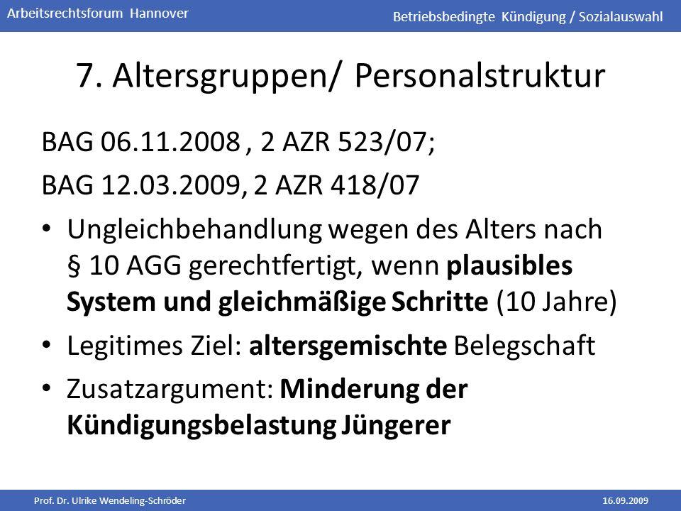 Prof. Dr. Ulrike Wendeling-Schröder16.09.2009 Arbeitsrechtsforum Hannover 7. Altersgruppen/ Personalstruktur BAG 06.11.2008, 2 AZR 523/07; BAG 12.03.2