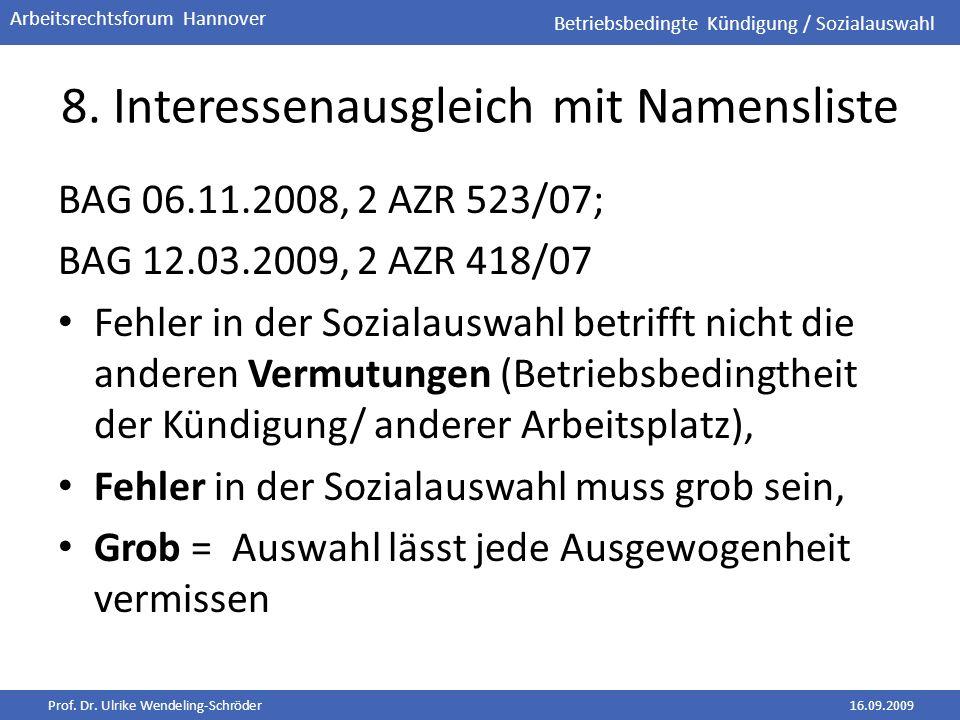 Prof. Dr. Ulrike Wendeling-Schröder16.09.2009 Arbeitsrechtsforum Hannover 8. Interessenausgleich mit Namensliste BAG 06.11.2008, 2 AZR 523/07; BAG 12.