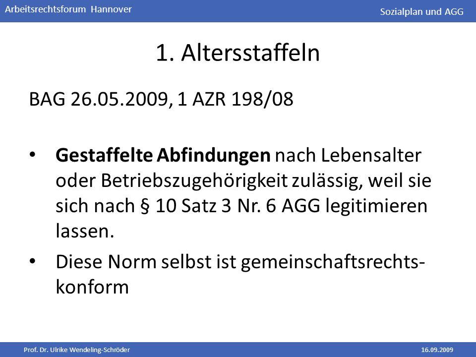 Prof. Dr. Ulrike Wendeling-Schröder16.09.2009 Arbeitsrechtsforum Hannover 1. Altersstaffeln BAG 26.05.2009, 1 AZR 198/08 Gestaffelte Abfindungen nach