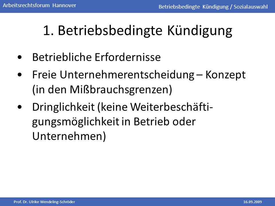 Prof. Dr. Ulrike Wendeling-Schröder16.09.2009 Arbeitsrechtsforum Hannover 1. Betriebsbedingte Kündigung Betriebliche Erfordernisse Freie Unternehmeren