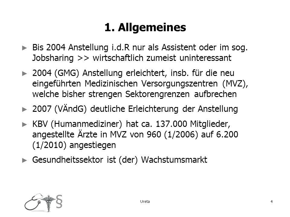 § 4 1. Allgemeines Bis 2004 Anstellung i.d.R nur als Assistent oder im sog. Jobsharing >> wirtschaftlich zumeist uninteressant 2004 (GMG) Anstellung e