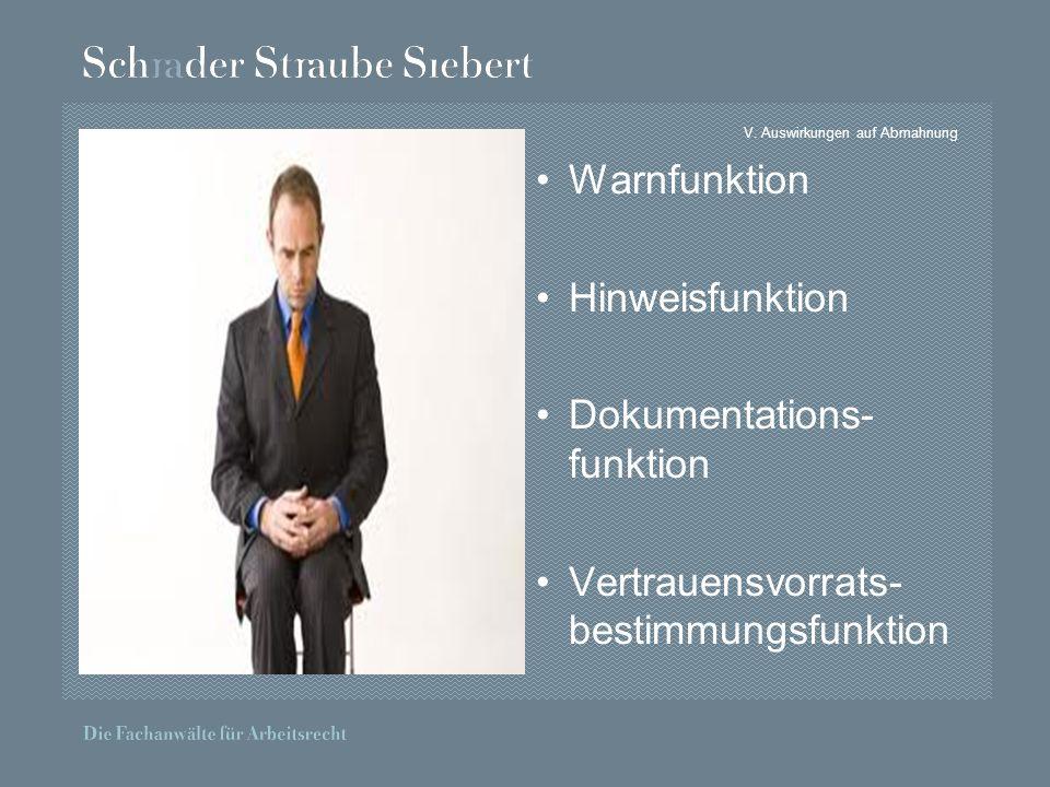 V. Auswirkungen auf Abmahnung Warnfunktion Hinweisfunktion Dokumentations- funktion Vertrauensvorrats- bestimmungsfunktion