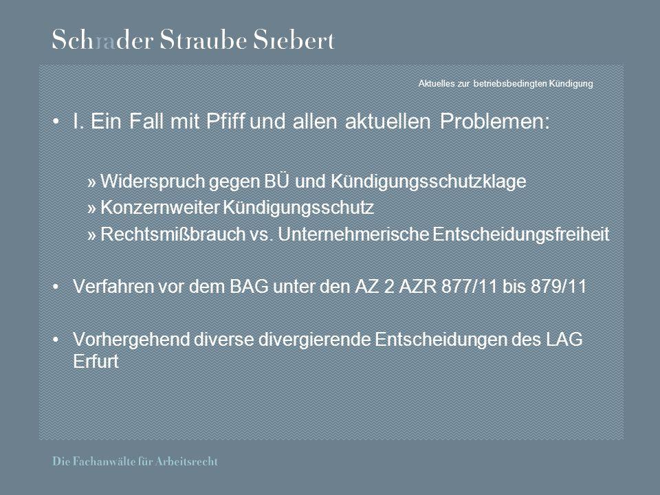 Aktuelles zur betriebsbedingten Kündigung I.