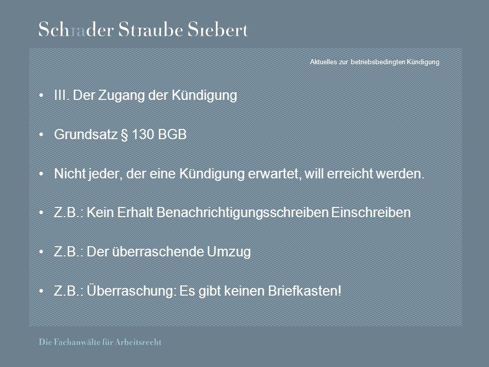 Aktuelles zur betriebsbedingten Kündigung III.