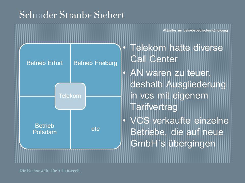 Aktuelles zur betriebsbedingten Kündigung Telekom hatte diverse Call Center AN waren zu teuer, deshalb Ausgliederung in vcs mit eigenem Tarifvertrag VCS verkaufte einzelne Betriebe, die auf neue GmbH`s übergingen Betrieb ErfurtBetrieb Freiburg Betrieb Potsdam etc Telekom