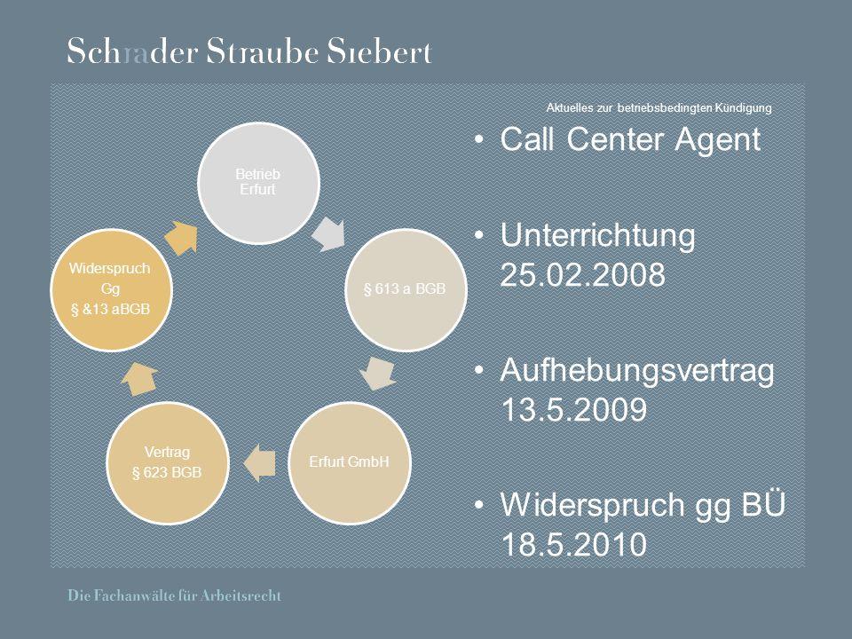Aktuelles zur betriebsbedingten Kündigung Betrieb Erfurt § 613 a BGBErfurt GmbH Vertrag § 623 BGB Widerspruch Gg § &13 aBGB Call Center Agent Unterrichtung 25.02.2008 Aufhebungsvertrag 13.5.2009 Widerspruch gg BÜ 18.5.2010