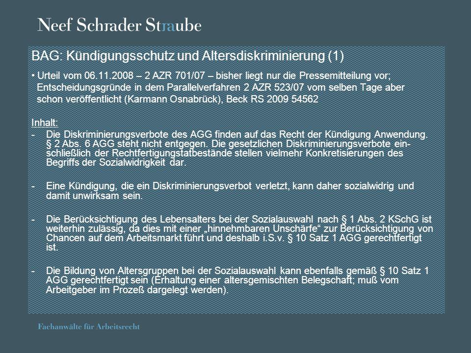 BAG: Urlaubsabgeltung bei krankheitsbedingter Arbeitsunfähigkeit Urteil vom 24.03.2009 – 9 AZR 983/07 – vorausgegangen war die Entscheidung des EuGH in der Sache Schulz/Hoff vom 20.01.2009 (C 350/06 und C 3520/06) -Der EuGH hatte festgestellt, daß die Richtlinie 2003/88/EG einzelstaatlichen Rechtsvorschriften entgegensteht, nach denen Arbeitnehmer, die wegen Krankheit den Jahresurlaub nicht in Anspruch nehmen können, am Ende des Arbeitsverhältnisses keine finanzielle Vergütung gezahlt bekommen; nationale Rechtsvorschriften dürfen diese Ansprüche nicht untergehen lassen.