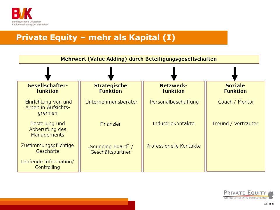 Seite 8 Private Equity – mehr als Kapital (I) Mehrwert (Value Adding) durch Beteiligungsgesellschaften Gesellschafter- funktion Einrichtung von und Ar