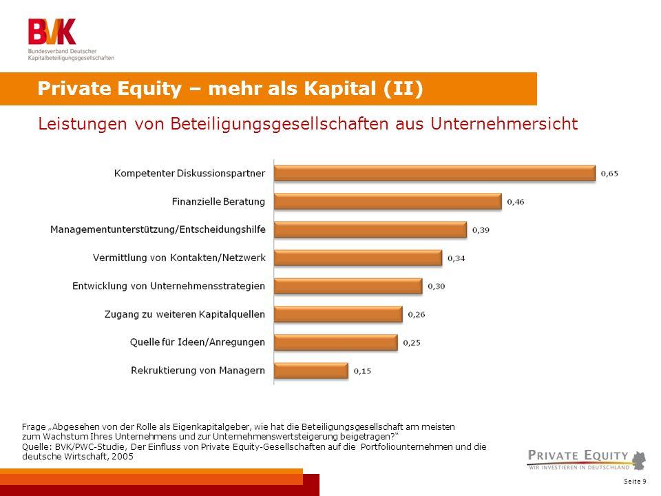 Seite 9 Private Equity – mehr als Kapital (II) Leistungen von Beteiligungsgesellschaften aus Unternehmersicht Frage Abgesehen von der Rolle als Eigenkapitalgeber, wie hat die Beteiligungsgesellschaft am meisten zum Wachstum Ihres Unternehmens und zur Unternehmenswertsteigerung beigetragen.
