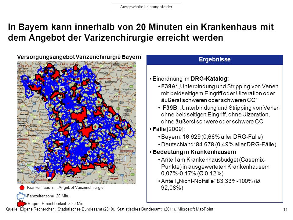 In Bayern kann innerhalb von 20 Minuten ein Krankenhaus mit dem Angebot der Varizenchirurgie erreicht werden 11 Ergebnisse Einordnung im DRG-Katalog: