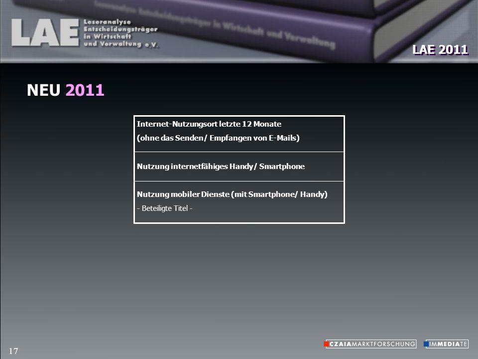 LAE 2011 17 NEU 2011 Internet-Nutzungsort letzte 12 Monate (ohne das Senden/ Empfangen von E-Mails) Nutzung internetfähiges Handy/ Smartphone Nutzung mobiler Dienste (mit Smartphone/ Handy) - Beteiligte Titel -