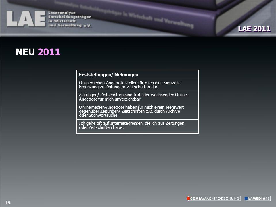 LAE 2011 19 NEU 2011 Feststellungen/ Meinungen Onlinemedien-Angebote stellen für mich eine sinnvolle Ergänzung zu Zeitungen/ Zeitschriften dar.