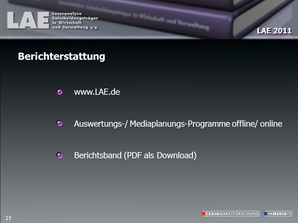 LAE 2011 25 Berichterstattung www.LAE.de Auswertungs-/ Mediaplanungs-Programme offline/ online Berichtsband (PDF als Download)