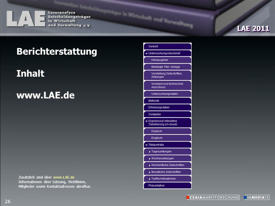 LAE 2011 26 Berichterstattung Inhalt www.LAE.de Zusätzlich sind über www.LAE.de Informationen über Satzung, Richtlinien, Mitglieder sowie Kontaktadressen abrufbar.