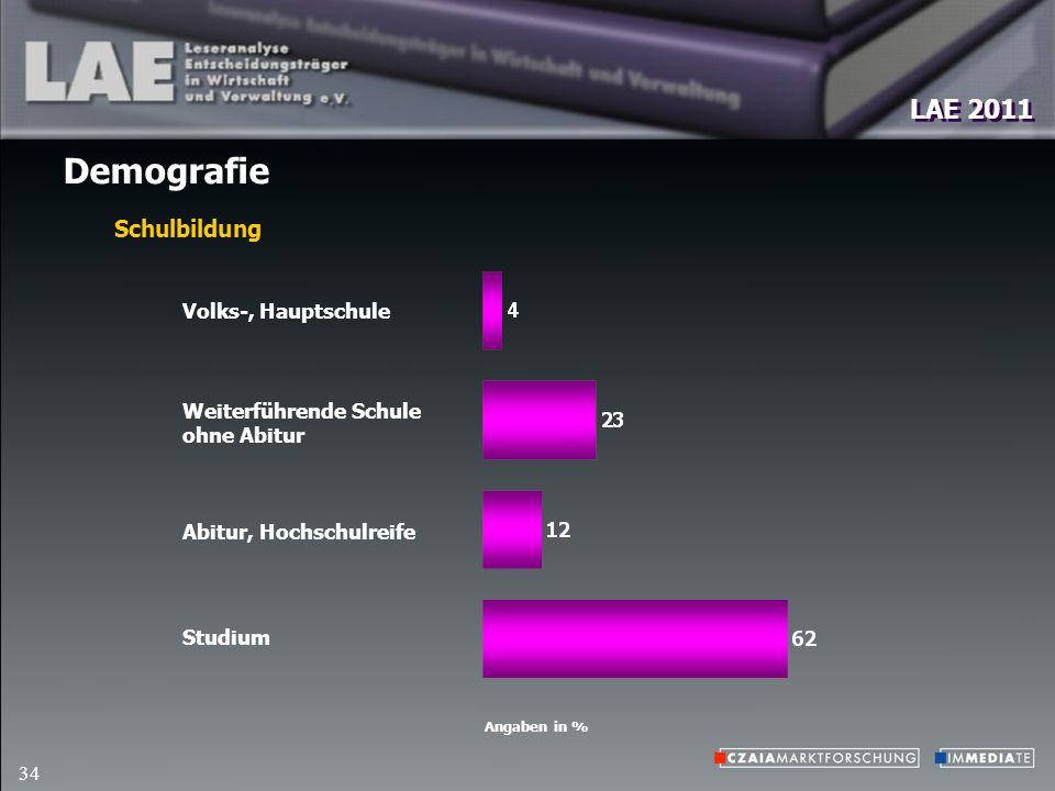 LAE 2011 34 Demografie Angaben in % Schulbildung Volks-, Hauptschule Weiterführende Schule ohne Abitur Abitur, Hochschulreife Studium
