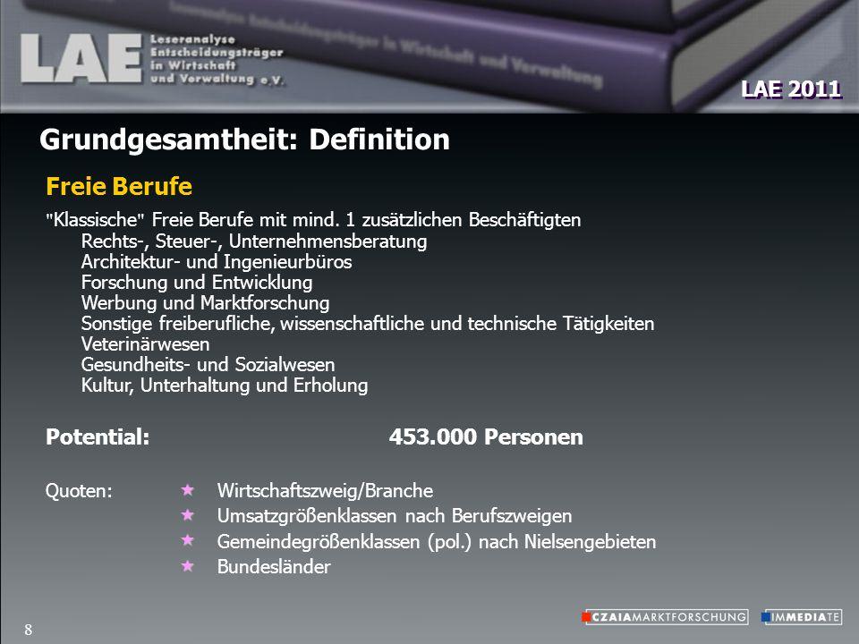 LAE 2011 8 Grundgesamtheit: Definition Potential: 453.000 Personen Klassische Freie Berufe mit mind.