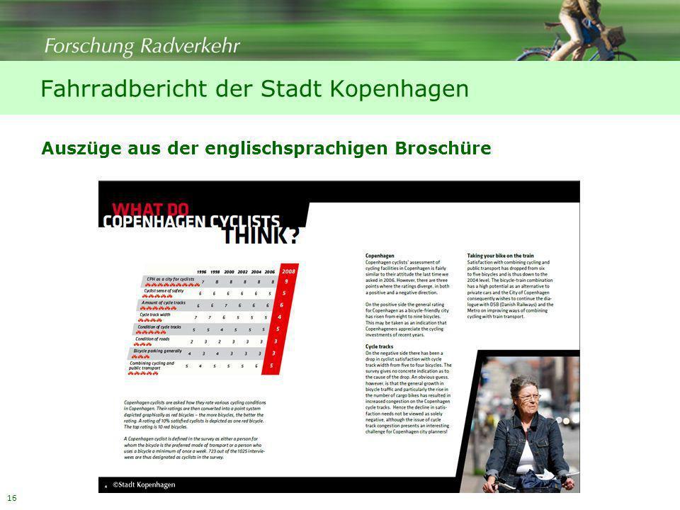 16 Fahrradbericht der Stadt Kopenhagen Auszüge aus der englischsprachigen Broschüre