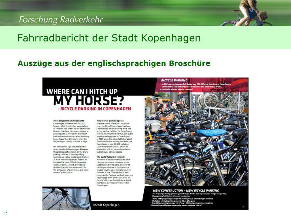 17 Fahrradbericht der Stadt Kopenhagen Auszüge aus der englischsprachigen Broschüre