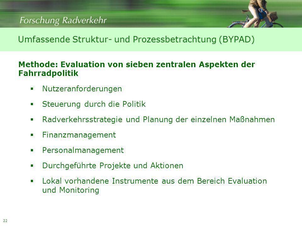22 Methode: Evaluation von sieben zentralen Aspekten der Fahrradpolitik Nutzeranforderungen Steuerung durch die Politik Radverkehrsstrategie und Planu