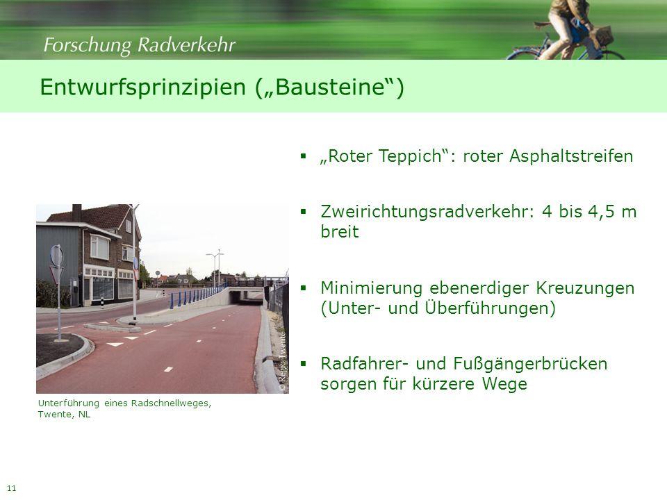 11 Entwurfsprinzipien (Bausteine) Roter Teppich: roter Asphaltstreifen Zweirichtungsradverkehr: 4 bis 4,5 m breit Minimierung ebenerdiger Kreuzungen (Unter- und Überführungen) Radfahrer- und Fußgängerbrücken sorgen für kürzere Wege Unterführung eines Radschnellweges, Twente, NL