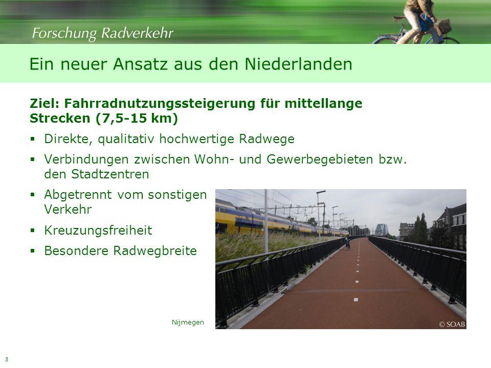3 Ein neuer Ansatz aus den Niederlanden Ziel: Fahrradnutzungssteigerung für mittellange Strecken (7,5-15 km) Direkte, qualitativ hochwertige Radwege Verbindungen zwischen Wohn- und Gewerbegebieten bzw.