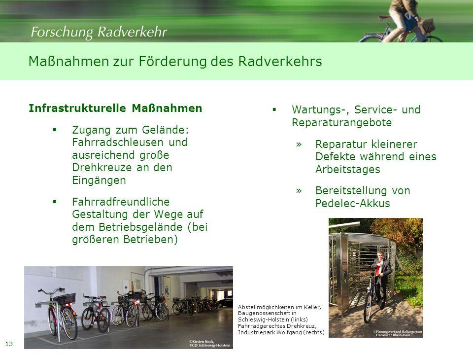 13 Maßnahmen zur Förderung des Radverkehrs Infrastrukturelle Maßnahmen Zugang zum Gelände: Fahrradschleusen und ausreichend große Drehkreuze an den Ei