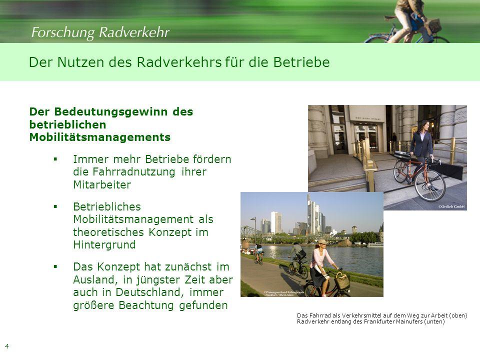 4 Der Nutzen des Radverkehrs für die Betriebe Der Bedeutungsgewinn des betrieblichen Mobilitätsmanagements Immer mehr Betriebe fördern die Fahrradnutz