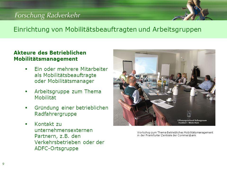 9 Einrichtung von Mobilitätsbeauftragten und Arbeitsgruppen Akteure des Betrieblichen Mobilitätsmanagement Ein oder mehrere Mitarbeiter als Mobilitäts