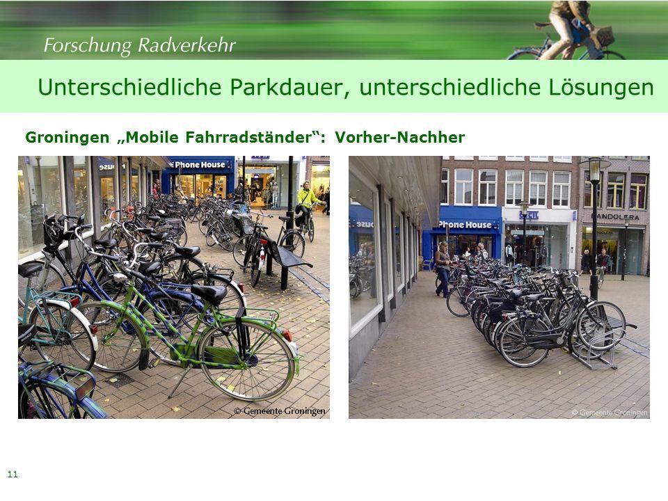 11 Groningen Mobile Fahrradständer: Vorher-Nachher Unterschiedliche Parkdauer, unterschiedliche Lösungen