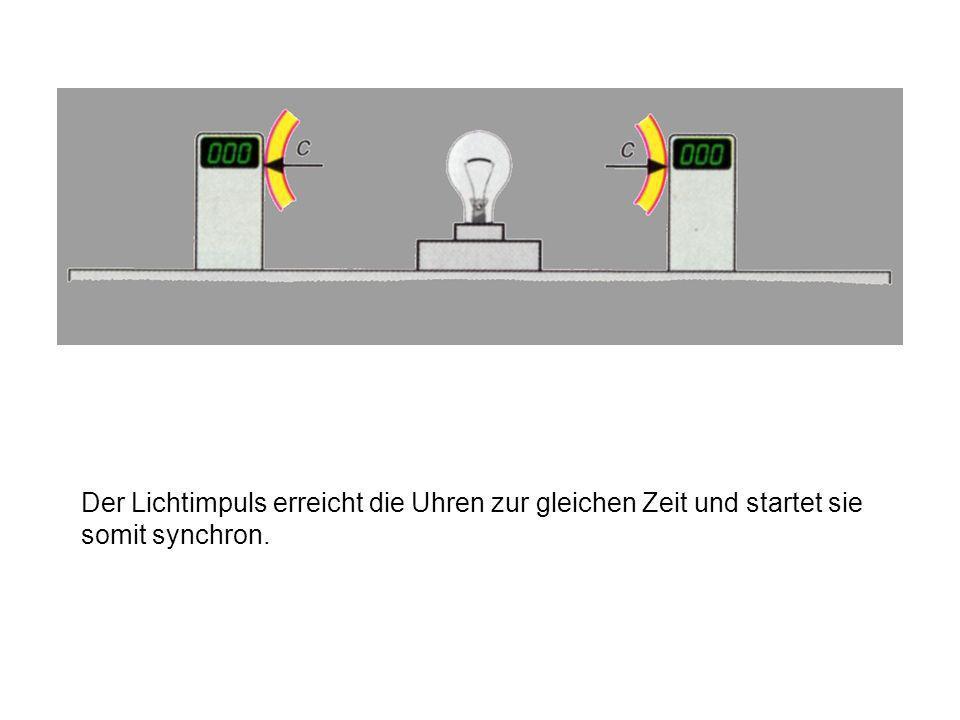 Der Lichtimpuls breitet sich zu beiden Lampen mit der Lichtgeschwindigkeit c = 299 792,458 km/s aus.