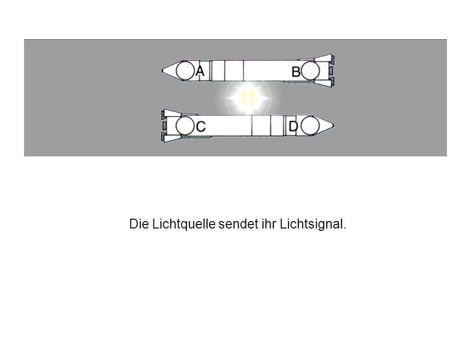 Die zwei Raketen sind genau nebeneinander, die Uhren A, B, C und D sind gleichweit von der Lichtquelle entfernt.
