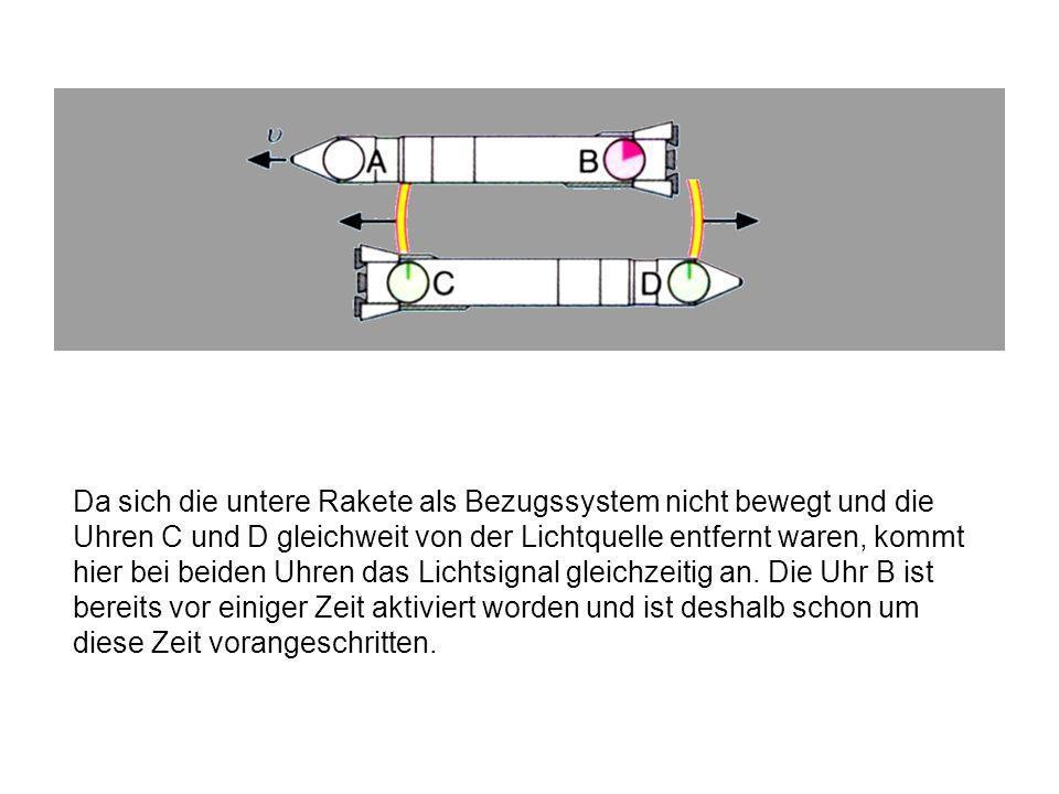 Aus Sicht der unteren Rakete fliegt die obere Rakete mit der Geschwindigkeit v nach links weg, demnach erreicht das Lichtsignal zuallererst die Uhr B