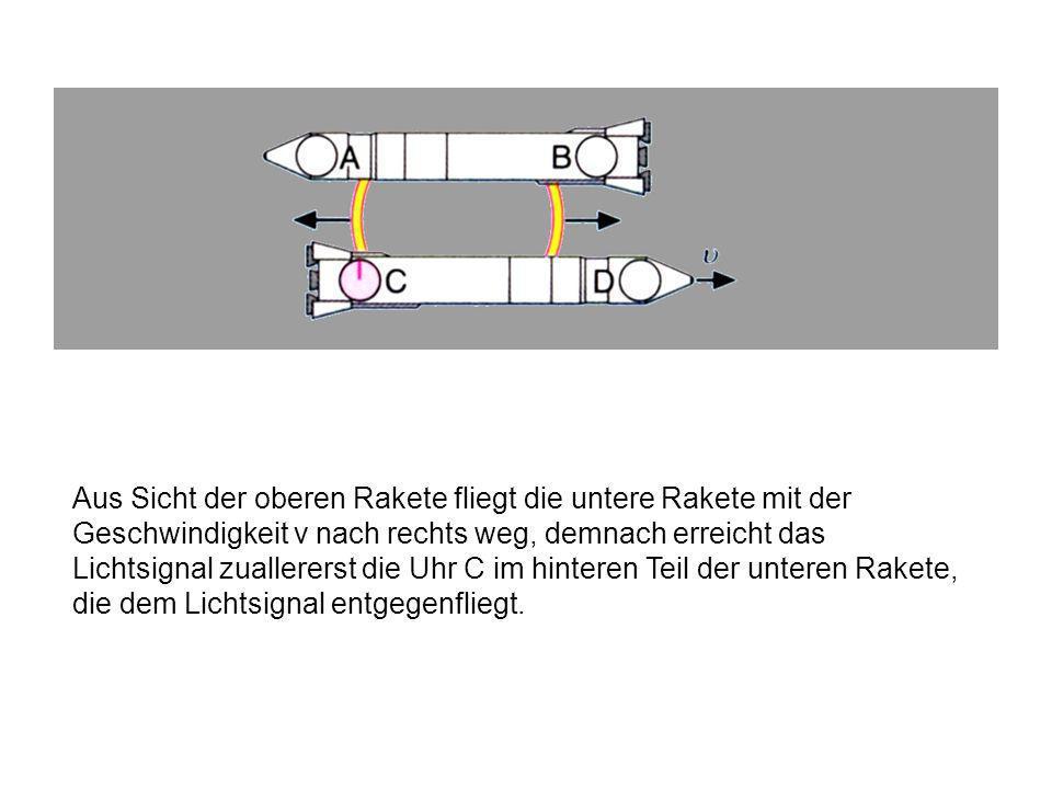 Betrachten wir jedoch das Geschehen aus der Sicht der oberen Rakete, so beobachten wir folgendes:
