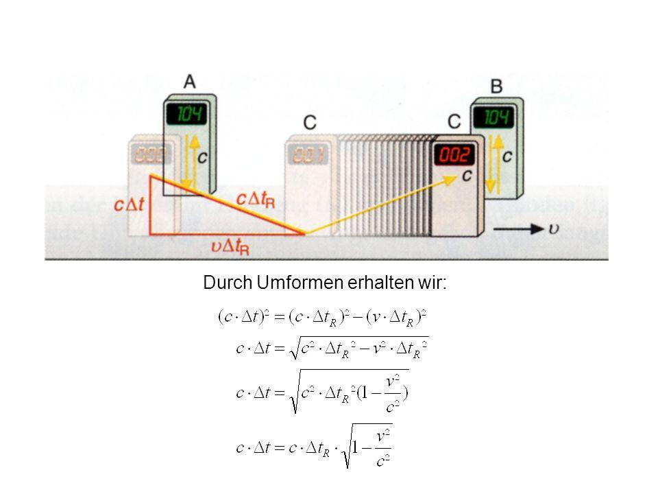 Wenn die Uhr C auf Höhe der Uhr B ist, dann hat das Licht in Uhr C aus Sicht der Uhren A und B erneut eine resultierende Bewegung der Länge cΔt R durc