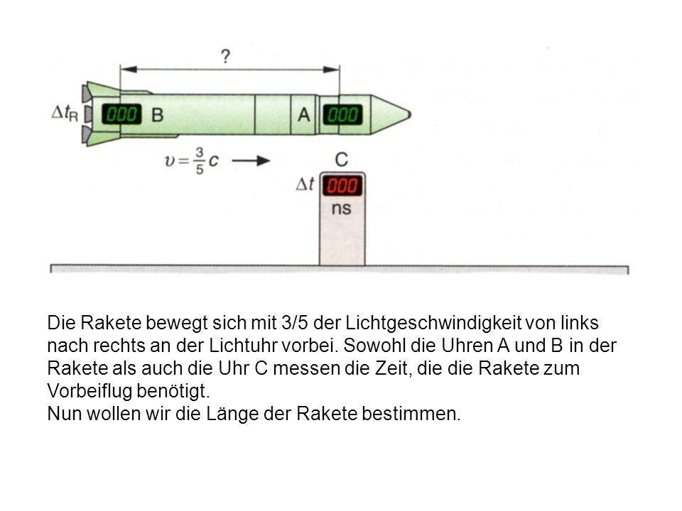 5.1 Die Längenkontraktion Bei der Längenkontraktion handelt es sich um einen Folgeeffekt der Zeitdilatation. Wir betrachten zunächst eine Rakete, die