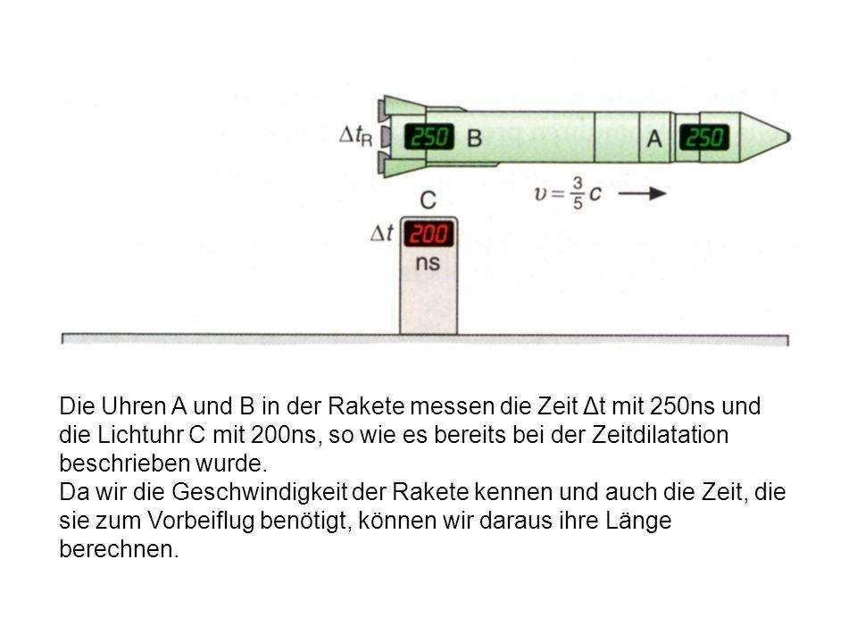 Die Rakete bewegt sich mit 3/5 der Lichtgeschwindigkeit von links nach rechts an der Lichtuhr vorbei. Sowohl die Uhren A und B in der Rakete als auch