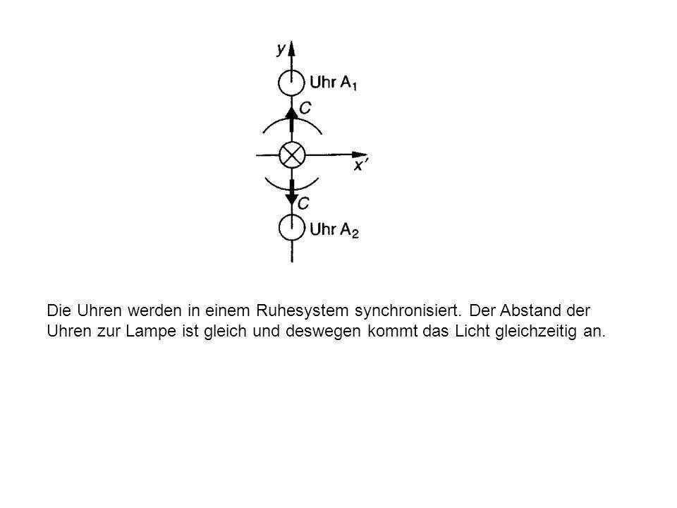 5.2 Wirkungsbereich der Längenkontraktion Die Längenkontraktion wirkt nicht in alle beliebigen Richtungen. Betrachten wir den Fall, dass zwei Uhren, d