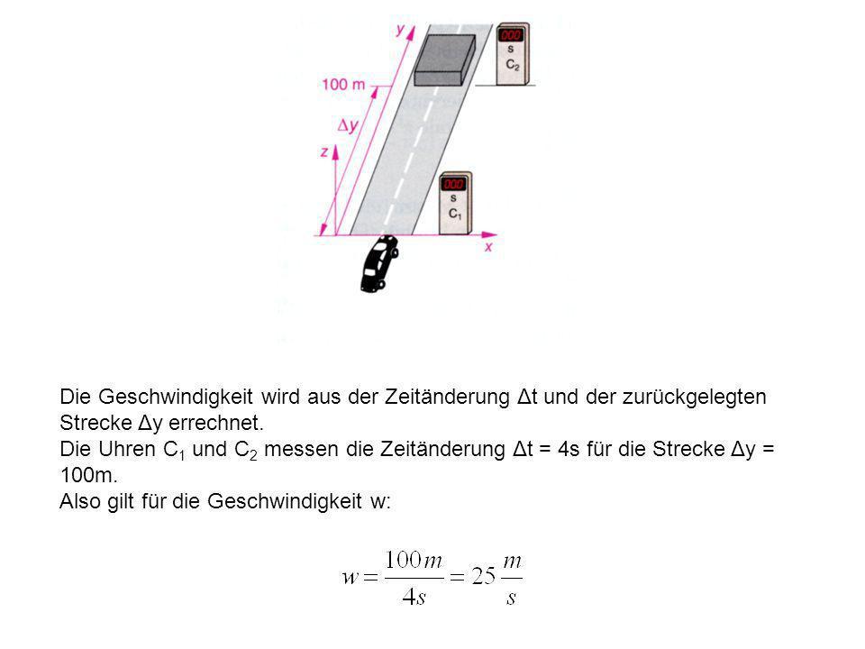 6. Die relativistische Massezunahme Betrachten wir den Fall, dass ein Auto der Masse m mit der Geschwindigkeit w gegen ein Testobjekt fährt und dieses