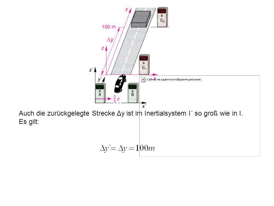 Das Testobjekt wird ebenso tief eingedrückt, da die Längenkontraktion nur in Richtung der Relativbewegung wirkt und nicht senkrecht dazu.
