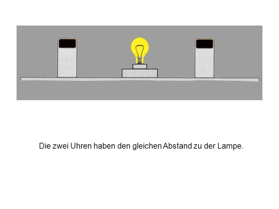 2. Die Einstein-Synchronisation Man stellt zwei Uhren, die zum starten einen Lichtimpuls benötigen, in jeweils gleicher Entfernung zu einer Blitzlampe
