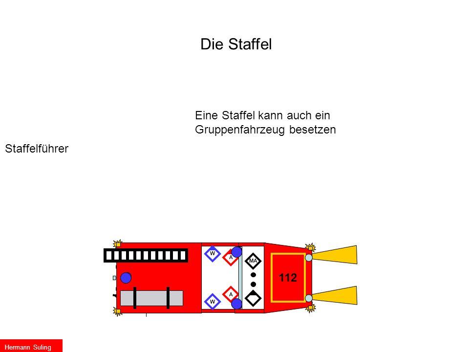Die Staffel Staffelführer Eine Staffel kann auch ein Gruppenfahrzeug besetzen MA A A W W 112 Hermann Suling