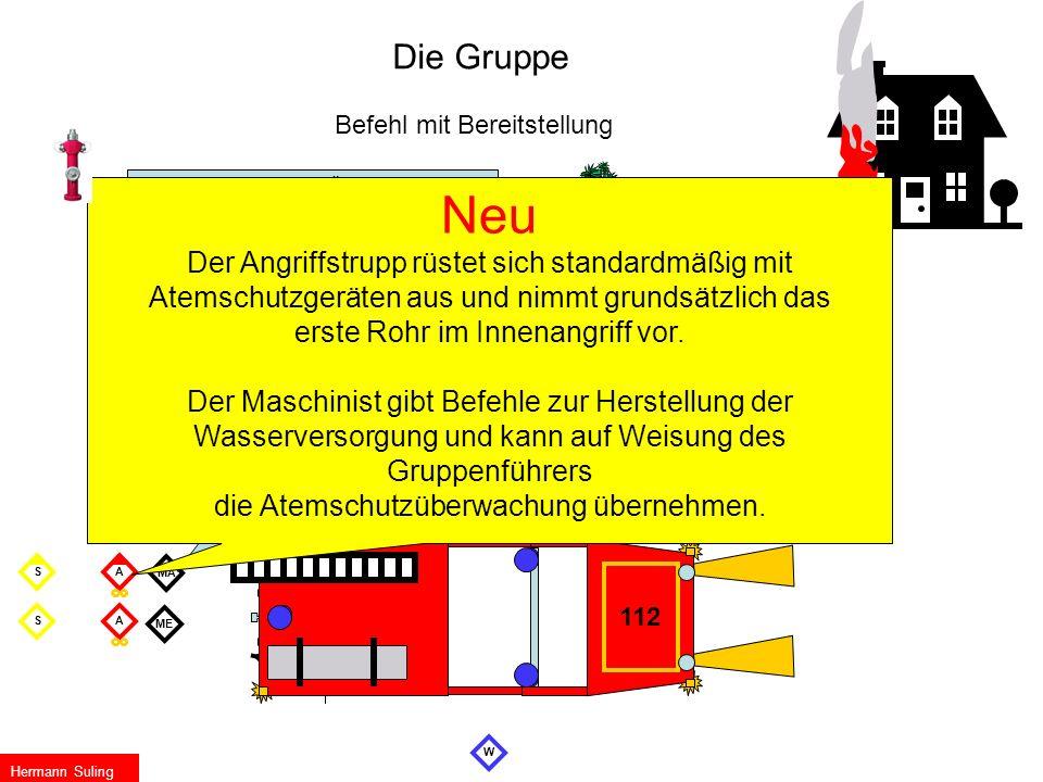 MA ME S W WS Die Gruppe Befehl mit Bereitstellung Wasserentnahme… Überflur- Hydrant Verteiler…………… am Busch ZUM EINSATZ FERTIG Wassertrupp zur Schlauc