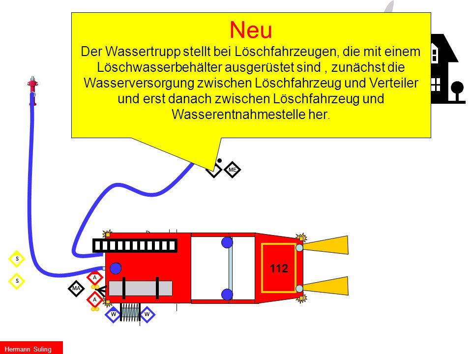 MA ME S S Die Gruppe Befehl mit Bereitstellung W W 112 A A Hermann Suling Neu Der Wassertrupp stellt bei Löschfahrzeugen, die mit einem Löschwasserbeh