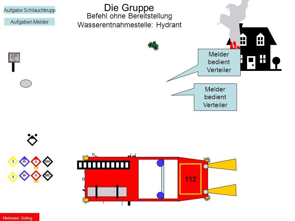 ME S W WS Die Gruppe A A Hermann Suling Befehl ohne Bereitstellung Wasserentnahmestelle: Hydrant 112 Melder bedient Verteiler Aufgabe Schlauchtrupp Au