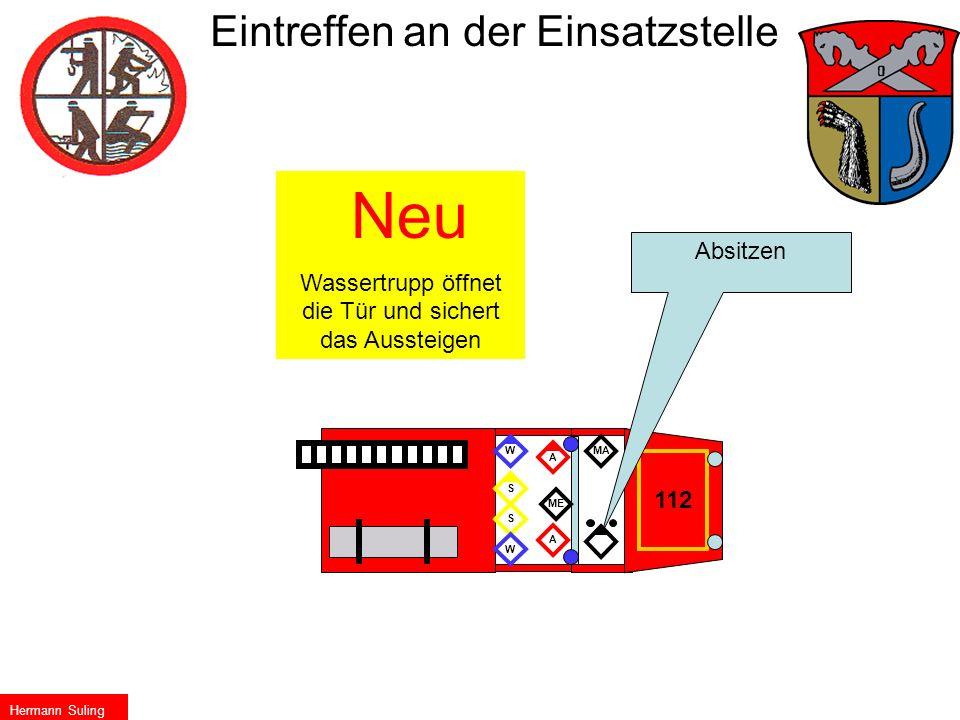 112 Absitzen Neu Wassertrupp öffnet die Tür und sichert das Aussteigen ME S A W AWS MA Eintreffen an der Einsatzstelle Hermann Suling