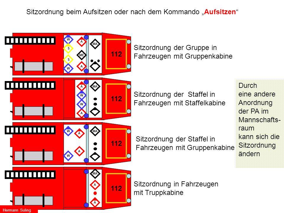 112 MA ME S A W A W S Sitzordnung der Gruppe in Fahrzeugen mit Gruppenkabine Sitzordnung der Staffel in Fahrzeugen mit Staffelkabine Sitzordnung der S