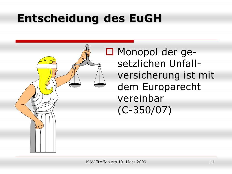 MAV-Treffen am 10. März 200911 Entscheidung des EuGH Monopol der ge- setzlichen Unfall- versicherung ist mit dem Europarecht vereinbar (C-350/07)