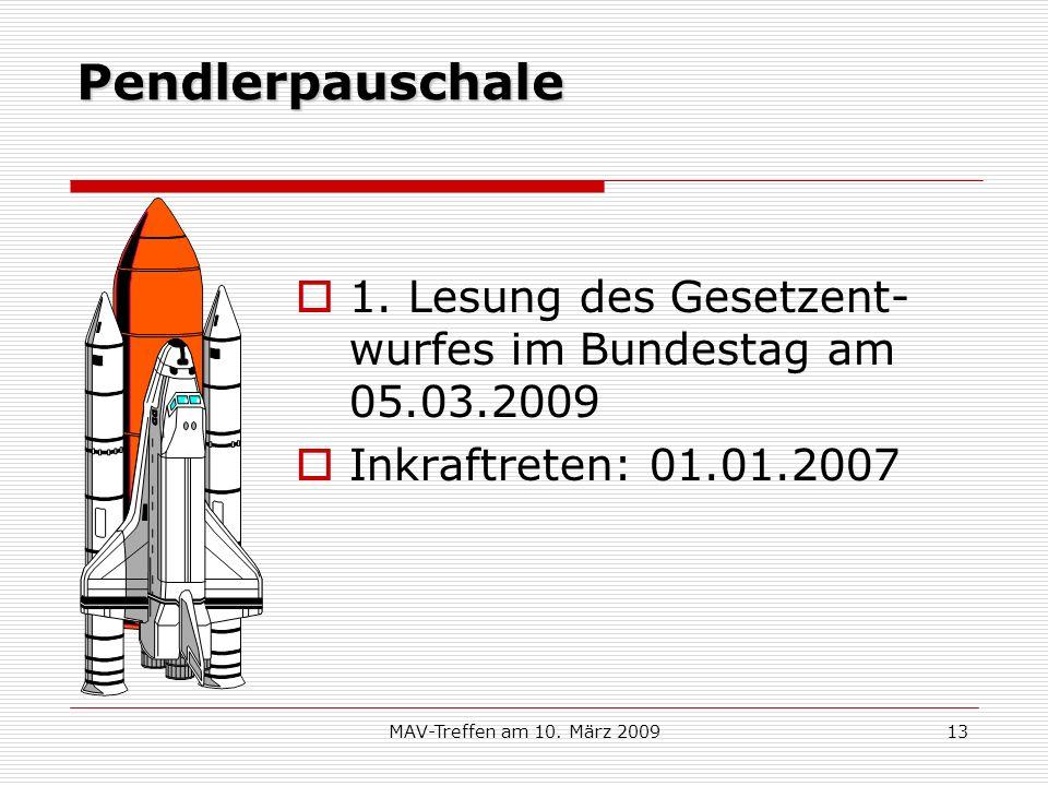 MAV-Treffen am 10. März 200913 Pendlerpauschale 1. Lesung des Gesetzent- wurfes im Bundestag am 05.03.2009 Inkraftreten: 01.01.2007