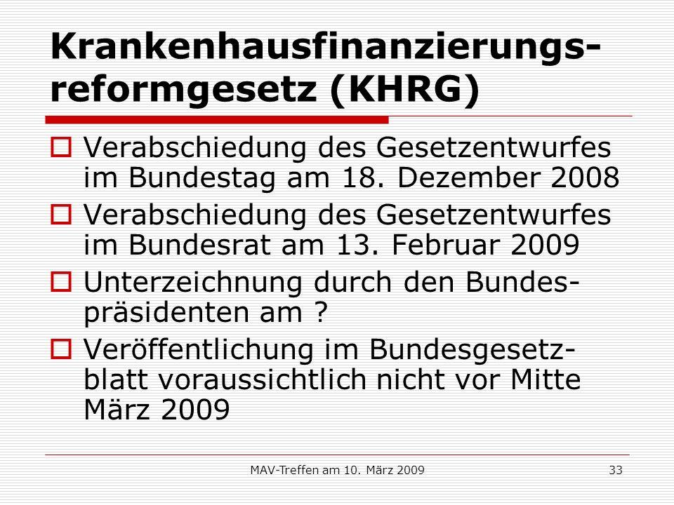MAV-Treffen am 10. März 200933 Krankenhausfinanzierungs- reformgesetz (KHRG) Verabschiedung des Gesetzentwurfes im Bundestag am 18. Dezember 2008 Vera