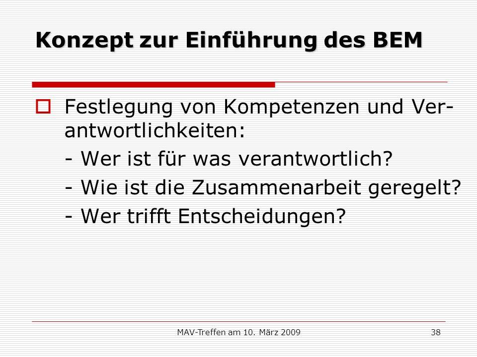 MAV-Treffen am 10. März 200938 Konzept zur Einführung des BEM Festlegung von Kompetenzen und Ver- antwortlichkeiten: - Wer ist für was verantwortlich?